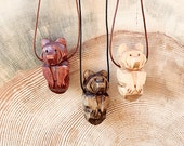 Bear Totem Necklace, Hand Carved, Choice of Size, Choice of Stain Color