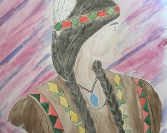 Indian lady southwestern art watercolor painting