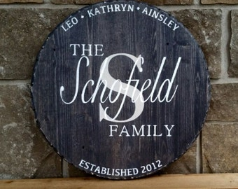 Wood Family Sign, monogram, personalized