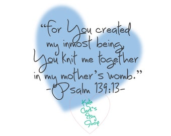 New Baby Boy Bible Verse Psalm 139:13 Digital Art Printable