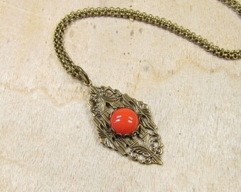 HILDA necklace with heart pendant brass bronze, lace cabochon ornament red orange coral, retro vintage style