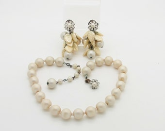 Elegant Older Signed Miriam Haskell Faux Pearl Necklace & Dangle Clip Earrings