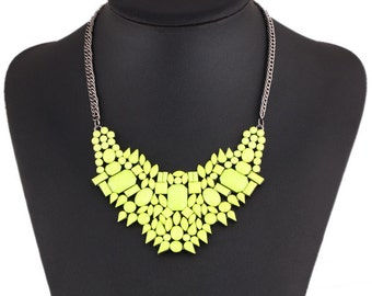 Yellow Geometric Statement Necklace