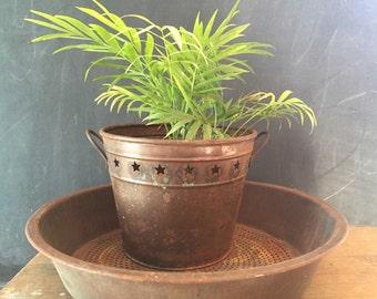 Copper Bucket Star Planter Flower Pot