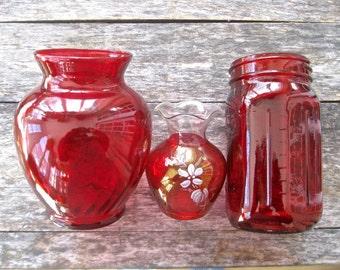 Red swirl vase etsy for Jardin glass jars