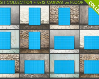 8x12 #C02 PNG Scene Collection Portrait & Landscape Stretched Canvas on Wooden Floors, 12 Print Display PNG scenes, 16x24 24x36, 20x30cm
