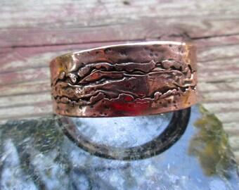 "Fabricated Medium  Copper Cuff Bracelet.  0.O8"" X 1"" Thick and Wide."