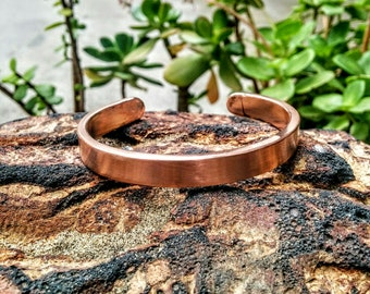 Heavy 3 mm Copper Cuff Bracelet. Brushed.  3 mm X 8 mm Thick and Wide. Solid.