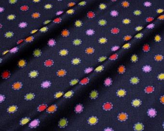 Fabric for children cotton poplin dark blue pril flowers colourful little Darling flower