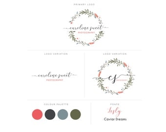 Branding Package - Photography Logo and Watermark - Floral Wreath - Font Script - Logo Design - Watermark - Premade Marketing Kit - BPL05
