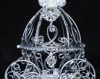 Silver Cinderella Wedding Carriage Ring Bearer Box Pillow Alernative