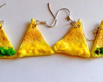 Nacho Chips Earrings - Miniature Food Jewelry - Nacho Cheese Earrings, Gifts for Foodies, Inedible Jewelry, Kid's Jewelry, Junk Food Jewelry