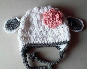 baby lamb hat, crochet lamb hat, baby girl hat, photo prop, baby shower gift, baby accessories, sheep hat, winter hat, hats and caps,