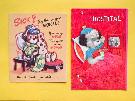 Mid Century Unused Get Well Soon Greeting Cards Dog Theme Lot of 2