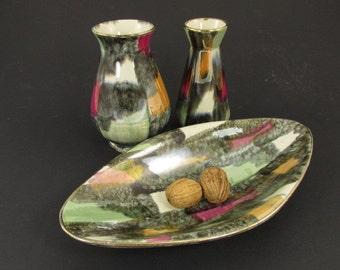 SALE Vintage ceramic set (2 vases and 1 bowl) / Bay / Art Deco glaze | West German Pottery | 60s