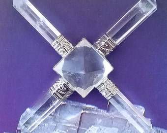 5 Stone QUARTZ CRYSTAL Pyramid Energy GENERATOR With 4 Six-Sided Points, Reiki, Sacred Geometry