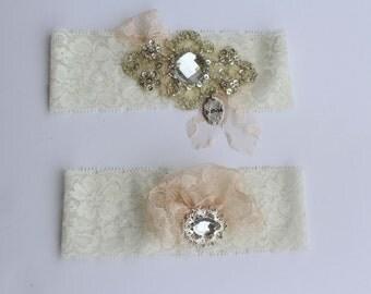 Bridal Garters - Blush/Ivory