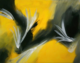 Large Abstract Acrylic Painting Black Painting Yellow Painting  Modern Art Contemporary Art