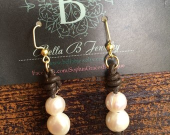 Leather & Pearl dangles