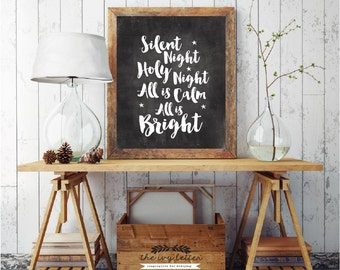 Silent Night, Holy Night, All Is Calm All Is Bright, Christmas Printable Quotes, Holiday Time Chalk Print, Christmas Digital Download