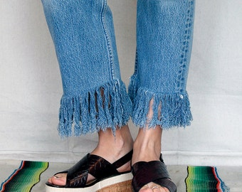 Vintage Levis 501s High Waist Repurposed Fringed Denim jeans - Sz 30