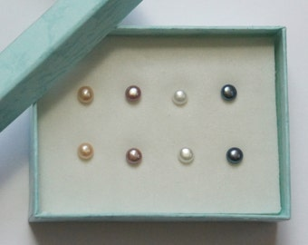 Freshwater Pearl Earrings, Stud Earrings, 5mm, Stainless Steel Posts, White, Peach, Mauve, Tahitian, Fast Shipping from USA