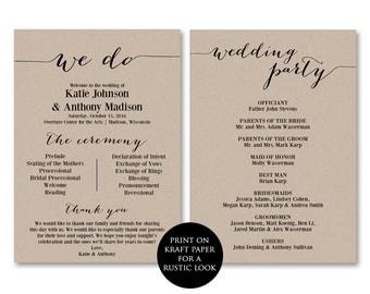 Ceremony Programs, Wedding Programs, We Do, Printable Ceremony Programs, Printable Wedding Programs, Ceremony Program PDF, Rustic, WSET2