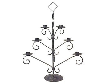 Black Wrought Iron Six Arm Candelabra