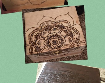 Wood Burned and Stained Jewelry Box