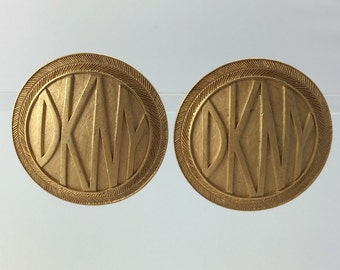 Large Vintage DKNY Logo Round Gold Clip On Earrings, Statment Earrings, DKNY Vintage Earrings, DKNY Jewelry
