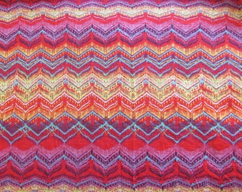 2 yds--Ikat print cotton/polyester Jersey knit fabric
