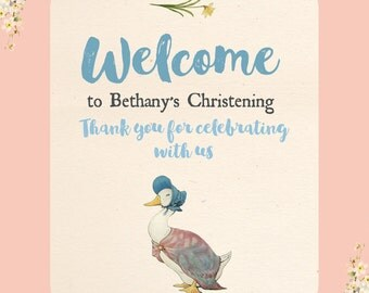 Beatrix Potter Jemima Puddleduck Welcome Party Sign