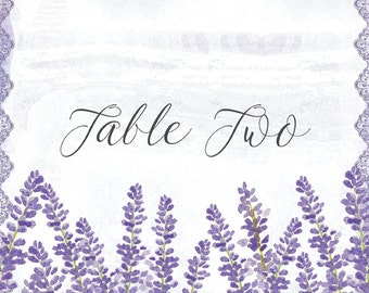 Lilac and Lavender watercolour Wedding Table Name and Number Cards
