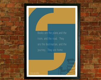 Framed  Print Quote, Anna Quindlen Quote, Book Lovers Typography Print, Home Quote Print, Print at home, Wall Art, Typography Quote Print