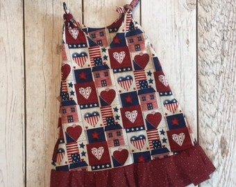 Girls Tie Top Dress with Ruffle, Lady of Liberty Dress, Hearts and Stars Dress, Toddlers Size 18M-2T, Special Occasion Dress for Her