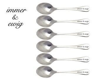 Teaspoons ALWAYS AND FOREVER . Etched teaspoons. Individual engraving on the back of the handle with no extra cost! Proposal,engagement.
