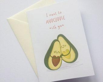 Avocuddle Pun Handmade Blank Anniversary/Love Card/Valentine's