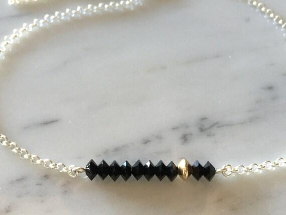 Swarovski Jet Crystal Bar Necklace