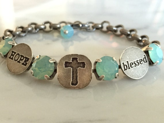Blessed Bracelet with Pacific Opal Crystals, in Antique Silver
