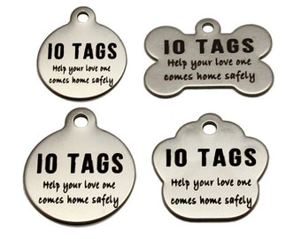 Made In USA Laser Etched Stainless Steel Pet ID Tags FREE Custom Personalized for Dog & Cat Paw Print Bone Round Tag