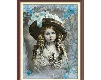 Girl Flowers Altered Digital Art Collage Vintage Victorian Child Ephemera Instant Download  Printable  Image Digital Photo