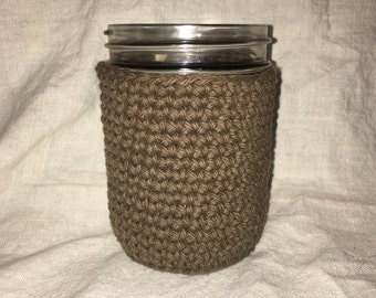 Pint Wide-Mouth Mason Jar Cozy in Warm Brown 100 % Cotton