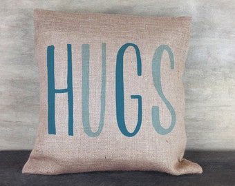 "Hugs Burlap Pillow 18""x18"""