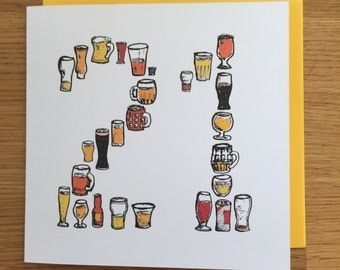 21 birthday card,  beer card, male, man, twenty one 21st  twenty firsts
