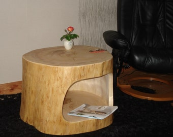 Tree trunk table with shelf