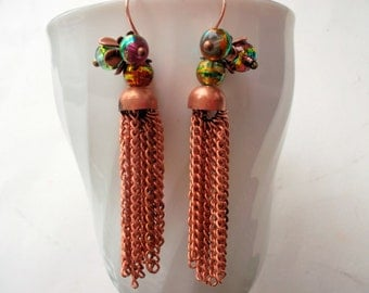 Tassel earrings, copper tassels, dangle earrings, copper earrings, metaltassels, roségold, boho earrings