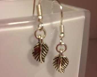 Silver leaf drop earrings