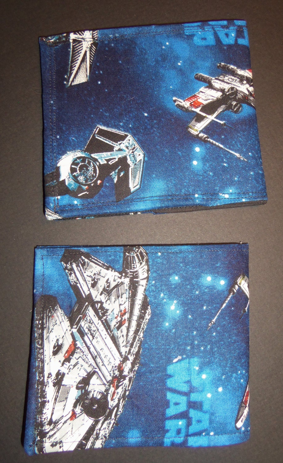 Star wars inspired space battle fabric wallets bi fold for Space inspired fabric