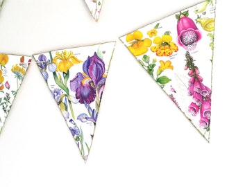 Doublesided Colourful Flower Bunting- Floral Bunting- Flower Garland-Spring / Summer Wedding Bunting- Floral Garland- Wedding Decor /Garland