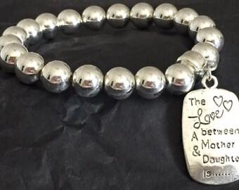 MOTHER & DAUGHTER -  Silver Beaded Bracelet